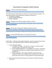 Successful Companies Article Review 3/14/16.docx