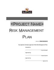 Project Risk Managment Plan