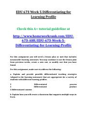 EDU 673 Week 5 Differentiating for Learning Profile.doc