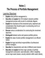 Notes 1 portfolio magt process