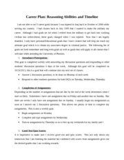 Career Plan- Reasoning Abilities and Timeline-Week 6 assignment