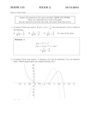 MATH 115 Fall 2014 Exam 2 Solutions