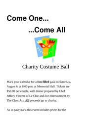 Lab 1-1 Costume Ball Announcement