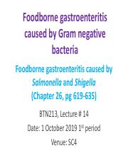 Lecture 14 Foodborne illness caused by Gram negative bacteria 4th period 011019.pdf