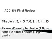 ACC 151 Final Review