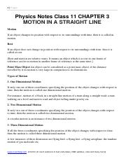 Physics Notes Class 11 CHAPTER 3 MOTION IN A STRAIGHT LINE