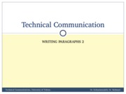 TechComm, Lecture 22 - Writing Paragraphs 2