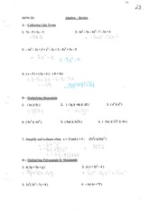 MPM2D Algebra Review with solutions