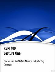REM400_Lec01_Basics of Real Estate Finance Slides.ppt