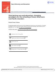 Disorienting race and education changing paradigms on the schooling of Asian Americans and Pacific I
