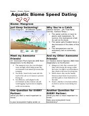 Aquatic biome speed dating answers