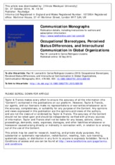 Occupational Stereotypes, Perceived Status Differences, and Intercultural Communication in Global Or