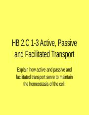 HB 2C 1-3 Cellular Transport Notes.ppt