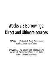 Weeks 2-3 Borrowings