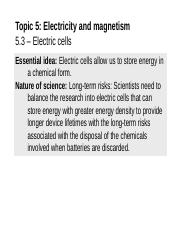 Topic 5.3 - Electric cells (1)
