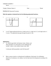 Chapter 6 Review - Station 3 Modeling with Polynomials