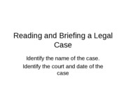 Legal Liab - PP - How to Brief a Legal Case