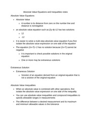 Absolute Value Equations and Inequalities notes