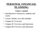 YorkU, Lecture #1,Sept 6, 2007, PERSONAL FINANCIAL PLANNING