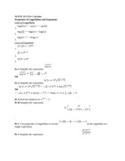 MATH 1113 Pre-Calculus Properties of Logarithms and Exponents