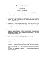 Consumer Behavior Chapter 2 review questions.docx