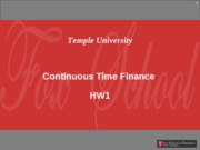 Continuous Time - HW1