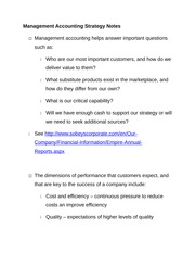 Management Accounting Strategy Notes