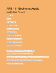 ARB 111 Beginning Arabic (Quiz Phrases)