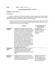 Active reading worksheet - session 5