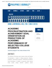 Philippine EJournals_ ACADEMIC PROCRASTINATION AND ACHIEVEMENT GOAL ORIENTATION AS PREDICTORS OF ACA