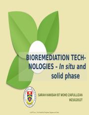 In situ and solid phase - BIOREMEDIATION TECHNOLOGIES In