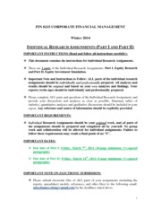 FIN 6215 Corporate Finance - Indivdual Research Assignment (WINTER 2014)