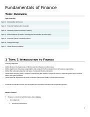 Fundamentals of Finance Notes