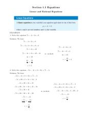 Linear and Rational Equations