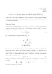 L11 Conservation Laws for Systems of Particles