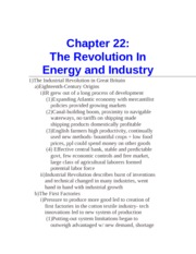 Chapter 22- The Revolution In Energy and Industry