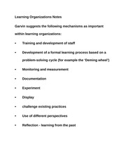 Learning Organizations Notes