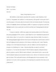 Essay 3 Lady Chatterley's Lover