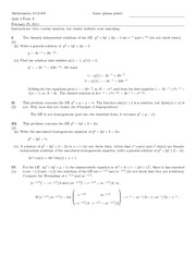 Quiz E Solutions on Introduction to Ordinary Differential Equations