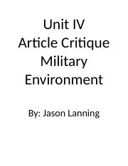 Unit IV Article Critique.docx