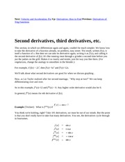 5 Second derivatives, third derivatives