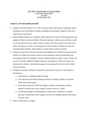Study Guide - Chapter 13, Social Work with Families and Youths