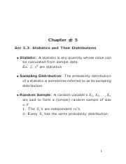 STAT2593 -- Lecture 5
