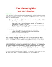 341 Marketing Plan Guidelines Bond