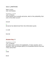 math 302 quiz 5 Mth302 business math and statistics quiz according to the course objective of virtual university of pakistan.