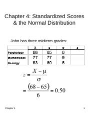 Chapter 4 - Standardized Scores & the Normal Distribution