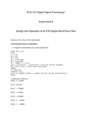 ECE 317 - Design and Operation of an FIR Digital Band-Pass Filter - Experiment 9