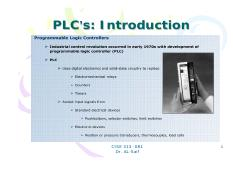 Lecture 18 PLC Summary-s