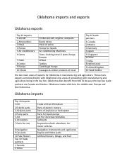 Oklahoma Imports and exports analysis.docx