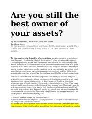 Are you still the best owner of your assets 2